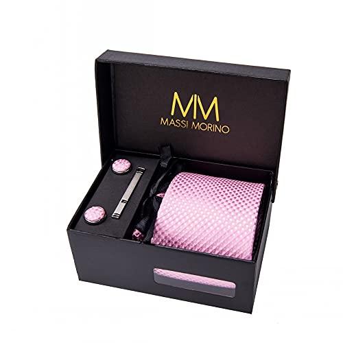 Massi Morino ® Cravatta uomo + Gemelli + Fazzoletto (Set cravatta uomo) regalo uomo con confezione regalo (Rosa scacchi)