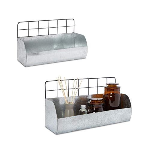 Metal Wall Shelves for Farmhouse Bathroom Decor Kitchen 2 Sizes 2 Pack
