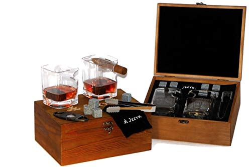 Whiskey Cigar glasses - 2 Old Fashioned Glasses, 8 Granite Chilling Rocks with Tongs, Velvet Pouch and Cigar Cutter in elegand box. Best gift set for men, dad, husband, boss, birthday, holiday.