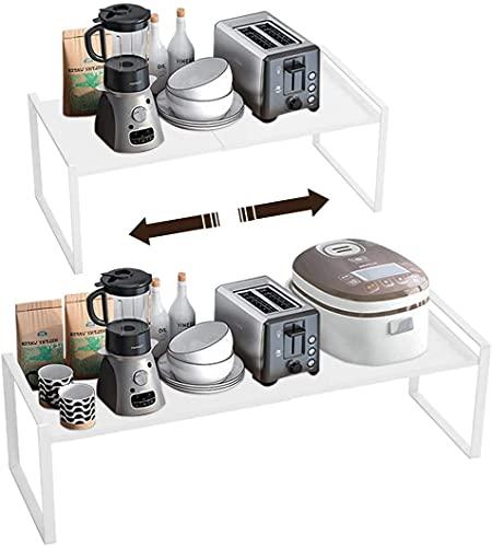 Isyunen Porta piatti e porta stoviglie allungabile mensole cucina salvaspazio ripiani salvaspazio cucina organizer credenza cibo e utensil per salvaspazio Organizer in metallo Bianco