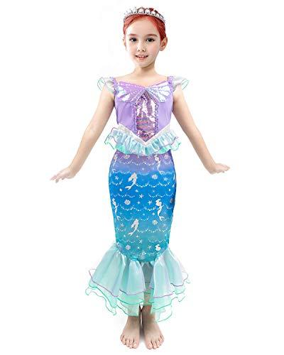 IKALI Disfraz De Princesa para Niñas Vestido De Cuento De Hadas De Sirena para Niños Pequeños Traje De Fiesta Colorido con Diadema