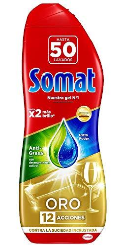 Somat Oro Gel Antigrasa para Lavavajillas, 50 Dosis, 900ml
