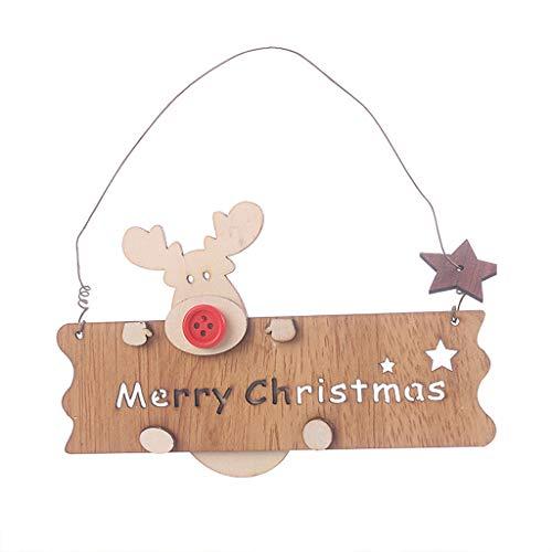 Fasclot Christmas Wooden Openwork Letter Elk Pendant Xmas Tree Hanging Decorations Home & Garden Home Decor