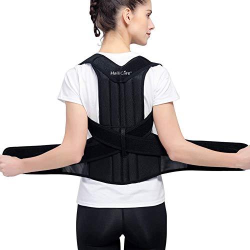 "HailiCare Posture Corrector for Men and Women, Upper Back Brace for Clavicle Support, Adjustable Back Straightener Correction for Spinal, Neck, Shoulder & Full Back Pain Relief - M (Waist 29""-35"")"