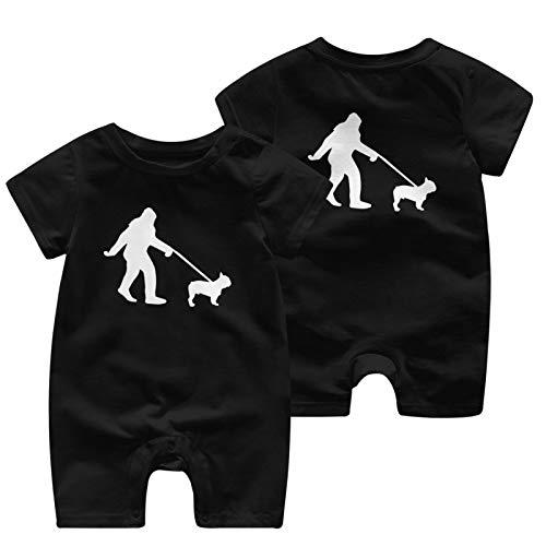 GSETW368 Bigfoot Walking French Bulldog-1 T Shirts Boy Girl Infant Baby Boys Girls Jumpsuit for 0-24M Black