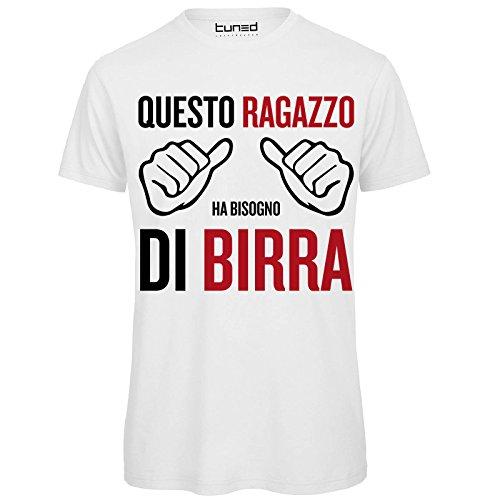 CHEMAGLIETTE! T-Shirt Divertente Uomo Maglietta con Frase Questo Ragazzo Ha Bisogno di Birra Tuned, Colore: Bianco, Taglia: L