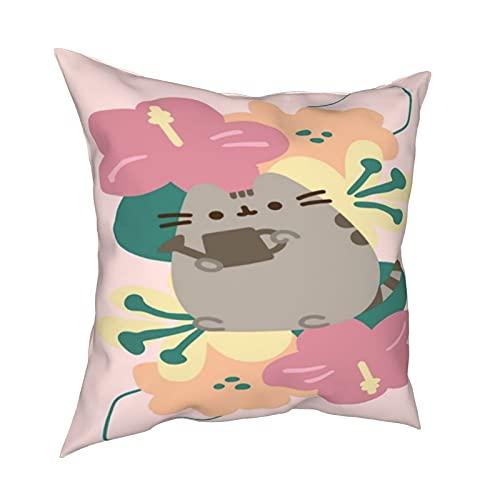 Push_Een - Federa per cuscino con motivo a forma di gatto, decorazione per la casa, con cerniera, per letto e divano
