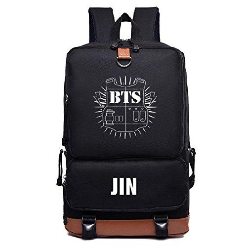 BTS Rucksack aus Segeltuch für Jungen, Bangtan Boys, K-Pop, Jimin, Suga, V, lässige Schultasche, adrett, JIN
