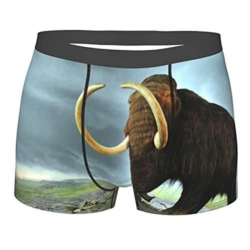 Herren Boxershorts,Wolliges großes Mammut,Herrenunterwäsche Performance atmungsaktiv mit weichem Stoff und elastischen Gürteltaschen,Boxershorts für Herren 2XL