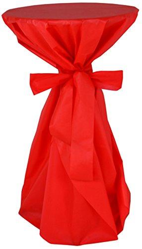 Stehtischüberwurf / die preisgünstige Alternative zur Husse, - abwischbar - (Farbe nach Wahl), ROT, mit extra Schleifenband aus stoffähnlichem Vlies, Stehtischhusse für Tischdurchmesser 60-70 cm
