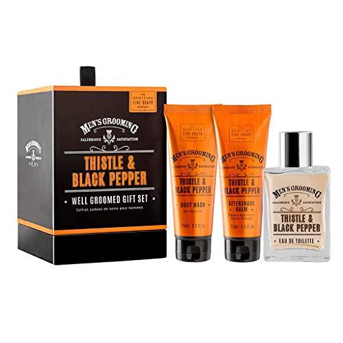 Men's Grooming by Scottish Fine Soaps Thistle & Black Pepper Well Groomed Gift Set