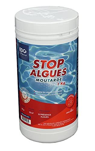 EDG by AQUALUX INTERNATIONAL Stop Algues Moutarde pour Piscine - Spécial Anti Algues Jaune - Super Concentré - Solution Ciblée - Double Fonction Préventif Curatif - Pot 1kg - Poudre