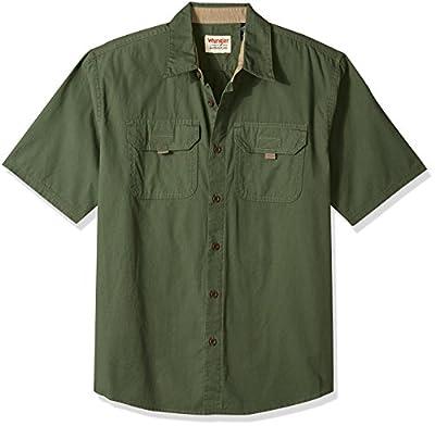 Wrangler Authentics Men's Short Sleeve Canvas Shirt, Beetle, L