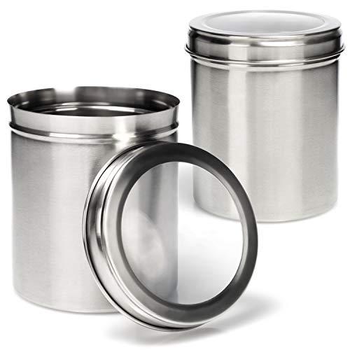 COM-FOUR® 2x Vorratsdose mit Deckel - Aufbewahrungsbox aus Metall - Metalldose für Kaffee, Tee, Kräuter und Gewürze - Kräuterdose mit 1000 ml