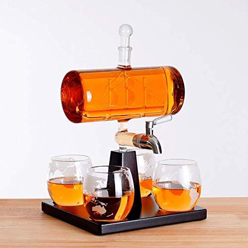 Whisky con un viejo dispensador de agua: una bote de vinos finos con 4 globos y soportes de madera Dec dispensador de agua, dispensador de vinos, dispensador de agua de whisky, jarra de vino blanco.