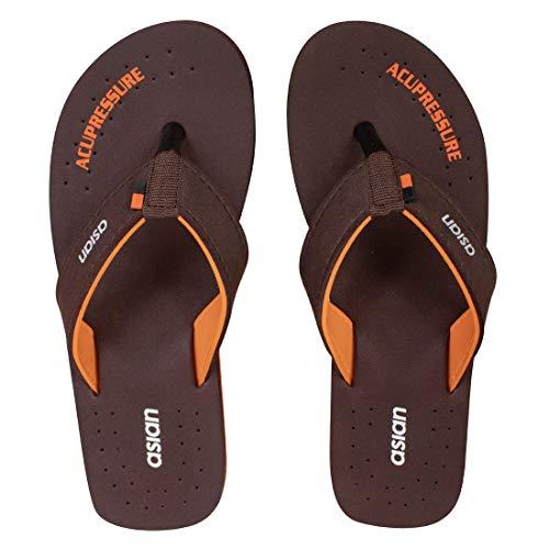 Asian Men's AFL-ORTHO(401) Brown Orange Fabric Slippers uk-5