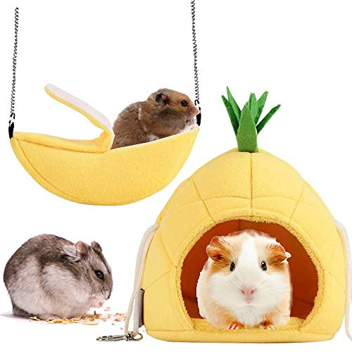 Famhome Banana Hamster Bed, House Hammock Small Animal Bed House Cage Nest Hamster Accessories (Banana-Pineapple-Yellow-2pcs)