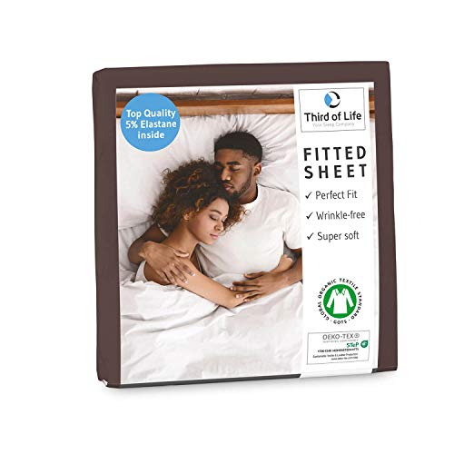 Premium Spannbettlaken 180x200 cm aus weicher Oekotex-Baumwolle, GOTS zertifiziert I Das atmungsaktive Bettlaken BENE ist fussel- & faltenfrei I Designed in Germany I 20 cm Höhe, dunkelbraun