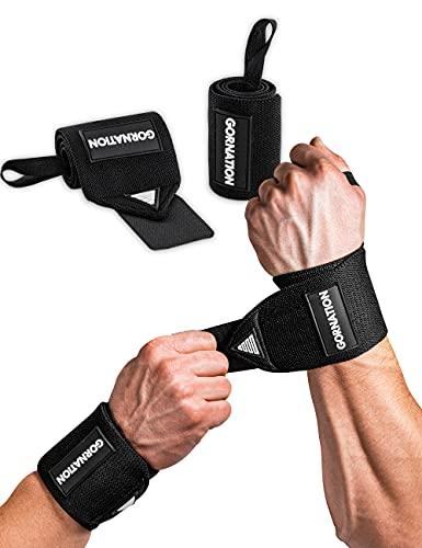 Gornation Power Wrist Wraps Power Polsiere Palestra/Fasce da Polso - Perfetto per l'allenamento con i Pesi, Il Bodybuilding, Il Crossfit e la calistenia (Black)
