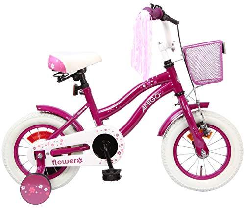 AMIGO Flower Kinderfahrräder Mädchen 12 Zoll 21,5 cm Mädchen Rücktrittbremse Violett