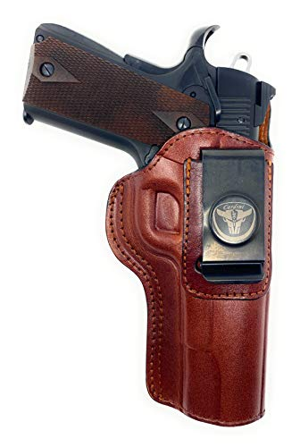 "Cardini Leather USA - IWB Ultra Soft Leather Holster - Concealed Carry with Clip - for Sig 1911 Compact, for Bersa Thunder 380, for Colt 1911 3""- (Brown, Left Hand)"