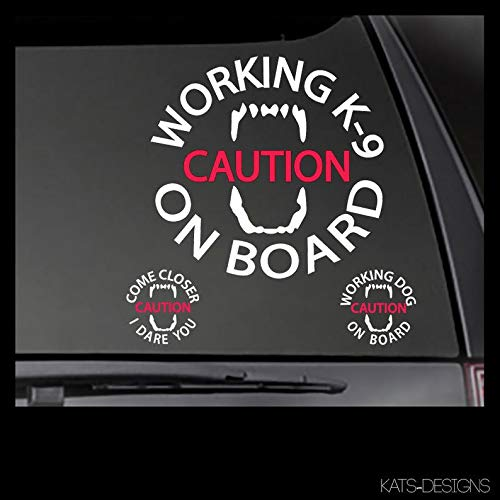 CLIFFBENNETT Caution Working K-9 Vinyl Decal - Working Dog - Come Closer I Dare You-Choice of Designs & Sizes Car/Truck/Window/Equipment Dog Sticker
