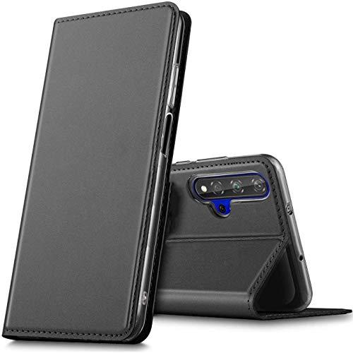Verco Handyhülle für Huawei Nova 5T / Honor 20, Premium Handy Flip Cover für Huawei Nova 5T Hülle [integr. Magnet] Book Hülle PU Leder Tasche, Schwarz