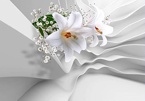 wandmotiv24 Fototapete Lilien 3D-Effekt Abstrakt, L 300 x 210 cm - 6 Teile, Fototapeten, Wandbild, Motivtapeten, Vlies-Tapeten, Blumen, Welle, Wellness M1267