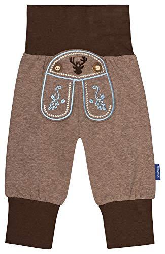 Baby Pumphose Jogginghose Babyhose in Lederhosen Stil Tracht mit schönen Stickereien, inkl. Auto Sticker in Größe 74/80