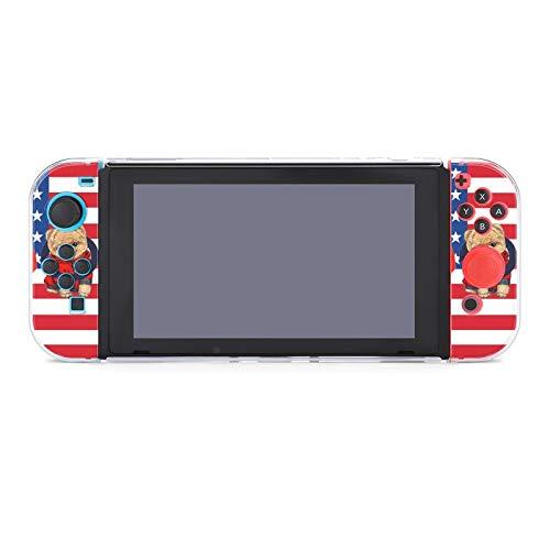 Funda para Nintendo Switch Linda Pomeranian Toy Dog en rojo Sudadera con capucha de la bandera americana Juego de cinco piezas Funda protectora compatible con Nintendo Switch Game Console