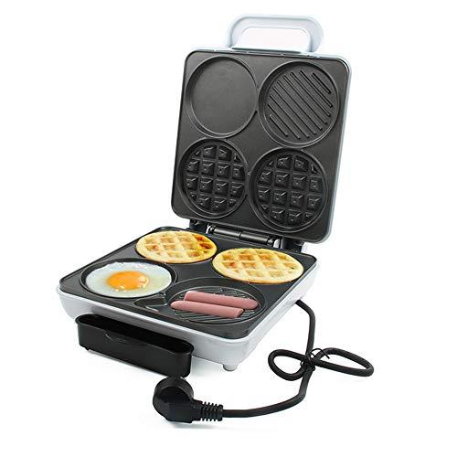 W-EQM 3-en-1 Snack-Maker Wafflera Hierro Máquina eléctrica del acero inoxidable del molde Revestimiento antiadherente Recetas profundo placas eléctricas, I temperatura ajustable de control, la torta d