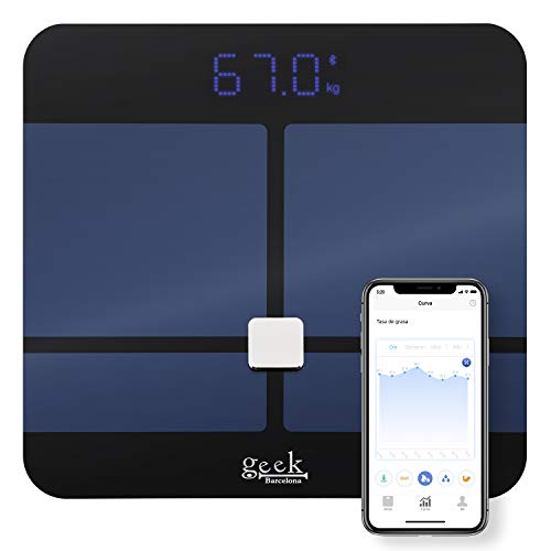 Báscula de Baño, Báscula Grasa Corporal, Báscula Bluetooth Inteligente de Composición Corporal App Android iOS (Negra)