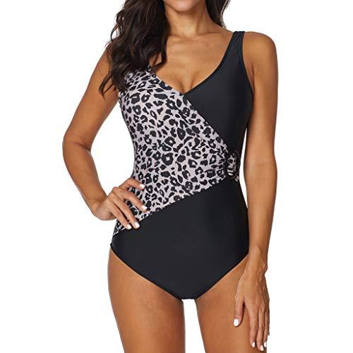 Lazzboy's Badeanzug Damen Leopardenmuster Push up Badeanzüge Einteilier Bademode Sportlich Schwimmanzug(Schwarz,2XL)