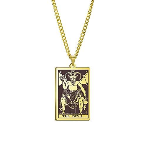 WUJIAO Tarot Deck Card Devil Tarot Nr. 15 Große mysteriöse Halskette, Oberste Amulettkette für Herren Golden