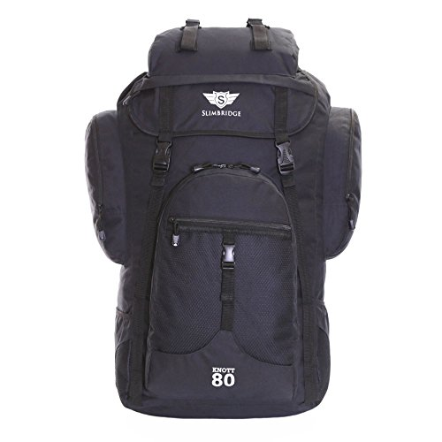 Slimbridge Extra Large Travel Hiking Rucksack Backpack Bag XL 75 cm 1 kg 80 litres, Knott Black