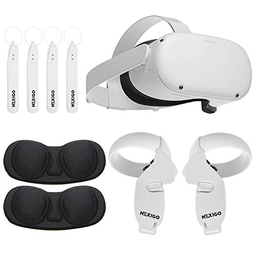 Oculus 2020 Newest Quest 2 VR 64GB Holiday Bundle, Advanced All-in-One Virtual Reality Gaming Headset, NexiGo Touch Controller Grip Cover White + Knuckle Strap + Lens Protect Cover Accessory Bundle