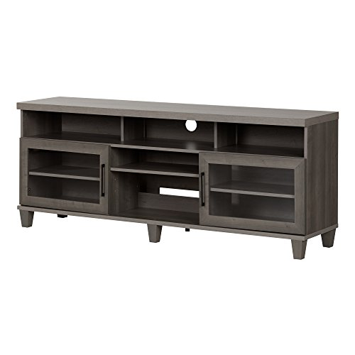 South Shore Large TV Stand, Glass Doors, Fits TVs up to 75'', Gray Maple