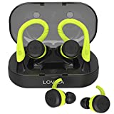 Wireless Headphones for Sport Bluetooth Earbuds with Double Earhooks V5.0 IPX7 Waterproof in ear Headphones 28H Playtime 3D Stereo Sound True Wireless Earphones Headsets with Mic and Charging Case