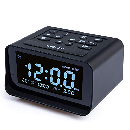 Acsonwin Alarm Clock Radio with USB Charging Ports, Electric Clocks with Brightness Dimmer, Adjustable Alarm Volume, FM Sleep timer for Bedroom/Kids, 12/24H, Snooze, Temperature, Battery Backup, Black