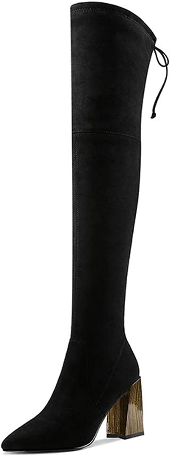 Martin Boots Female Autumn and Winter 2018 New Plus Velvet Square Head British Wind Black Slim Thick with Heel High Heels Over The Knee Boots (color   Black, Size   35)