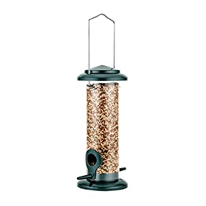 iBorn Bird Feeder Hanging Wild Bird Seed Feeder for Mix Seed Blends, Niger Seed Feeder, Sunflower Heart, Birdbath, Heavy Duty All Metal Anti-UV Finishing, Green 8 Inch