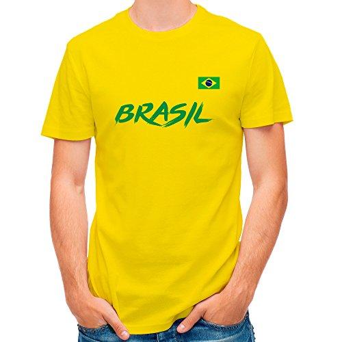 LolaPix Camiseta seleccion de Futbol Personalizada con Nombre y número. Camiseta de algodón para Hombre. Elige tu seleccion. Brasil
