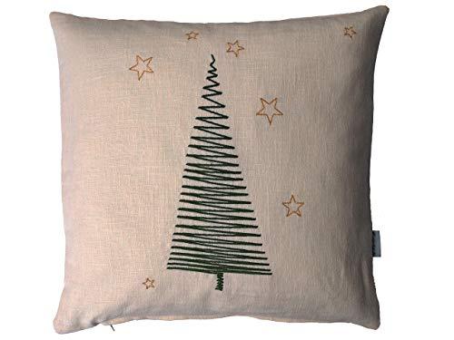 Tannenbaum Kissen, Leinen in beige, grün und gold bestickt, 40x40, 45x45, 50x50 cm, Weihnachtsdeko, Weihnachtsgeschenk, Weihnachtsbaum