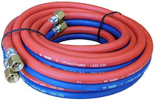 Manguera de oxígeno - acetileno doble para equipos de soldadura. Racorada 5m (Bitubo, diámetro interior 1/4