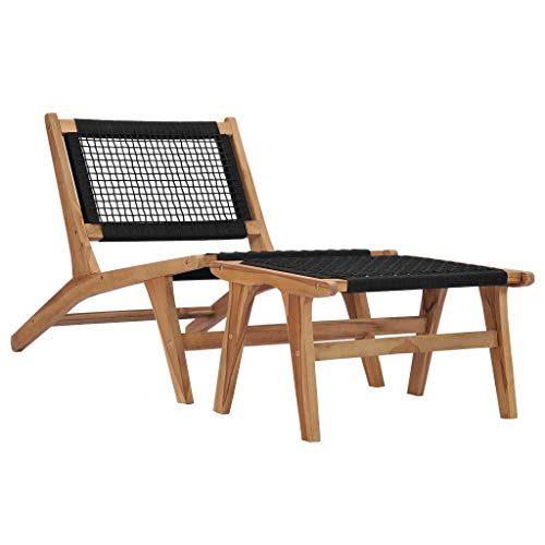 vidaXL Sun Lounger with Footrest Solid Teak Wood and Rope