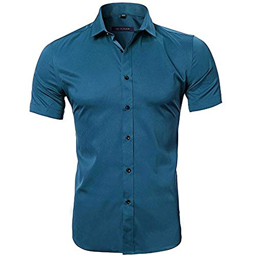NSSY heren hemd korte mouwen zomer slim fit Easy Care Solid