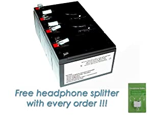 APC SURTA2000XL Battery Cartridge - Maintenance-free APC RBC8 RBC 8 Premium DS Miller Replacement with FREE Headphone Splitter