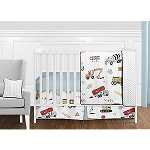 Sweet Jojo Designs Construction Truck Baby Boy Nursery Crib Bedding Set – 11 Pieces – Grey Yellow Orange Red and Blue Transportation Chevron Arrow