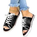 EVR Sandalias Mujer Verano 2020 Zapatos de Planas Zapatos de Boca de Pescado Playa Zapatillas Sandalias de Punta Abierta Fiesta Roman Sandalias Zapatos de Lona,Negro,43