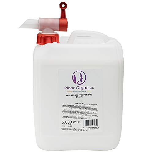 Pinar Organics (3 Prozent 5000ml) Wasserstoffperoxid/Oxidant für Coloration, Tönung und Blondierung aller gängigen friseurexklusiven Markenhersteller mit praktischen Auslaufhahn